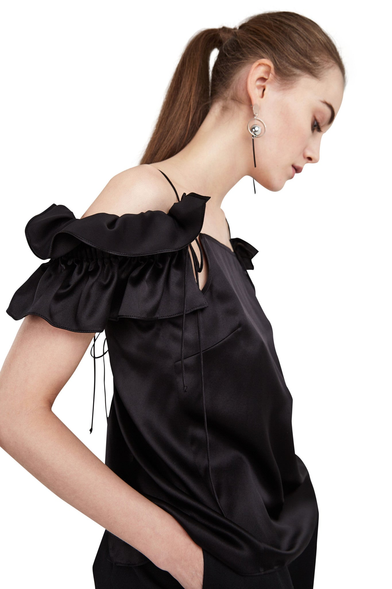 Black Sienna Ruffle Top