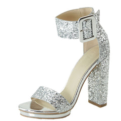 Love Mark Women's Open Toe Buckle Chunky Heel Sandal
