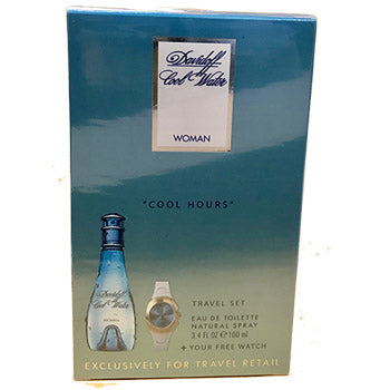 "Cool Water by Davidoff EDT 3.5 OZ SP Ladies with Watch ""Cool Hour"" Travel Set - South Beach Perfumes"