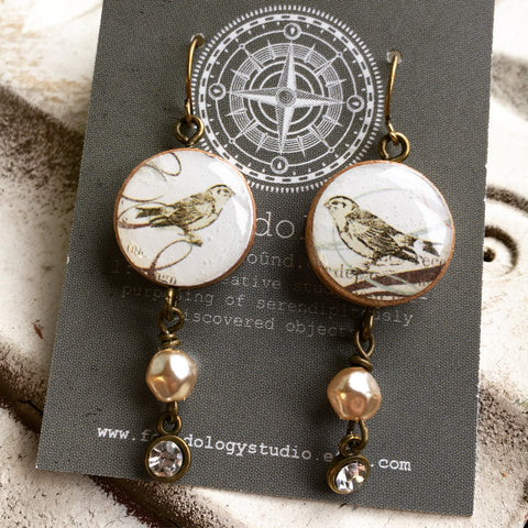 Repurposed Vintage Bingo Marker Earrings - Goldfinch