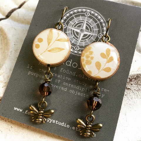 Repurposed Vintage Bingo Marker Earrings - Honey Bees