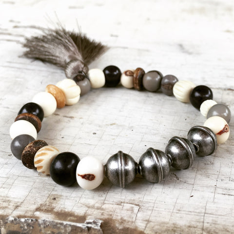 Boho and Industrial Chic Bead Bracelet , Stainless Steel, Acai and Bone Beads Bracelet