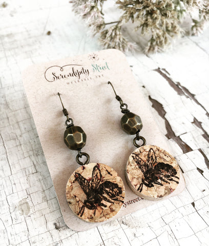 Honey Bee Wine Cork Earrings, Upcycled Wine Cork Jewelry