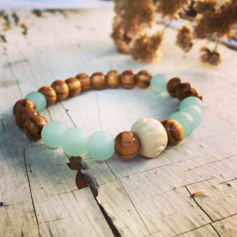 """Tide Pool"", Boho Bead Bracelet, Olive Wood, Bone and Seafoam Bead Bracelet"