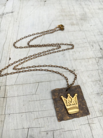 Rustic Hammered Copper Pendant with Brass Crown Necklace