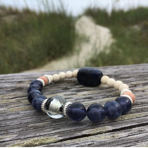"""The Journey"", Boho Bead Bracelet, Blue, White, and Rosewood Bead Stretch Bracelet"
