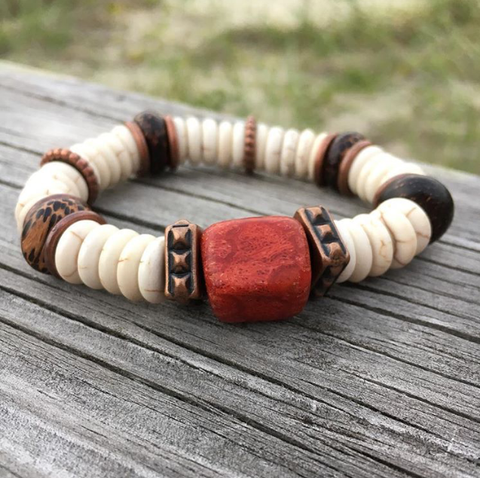 """Beaufort"", Boho Bead Bracelet, Red Coral, Ivory and Copper Bead Bracelet"