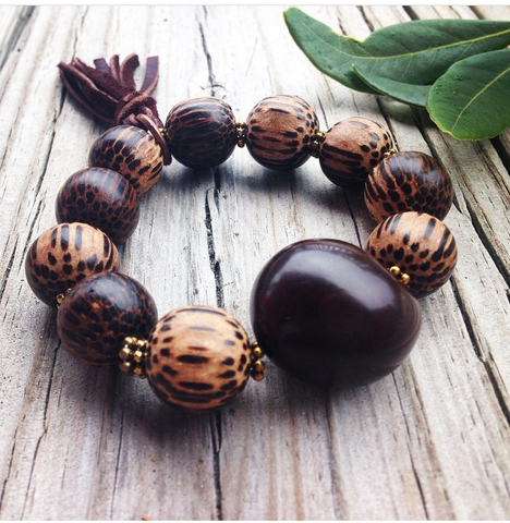 """Island Life"", Boho Bead Bracelet, Brown Tagua Nut and Palm Beads Stretch Bracelet"