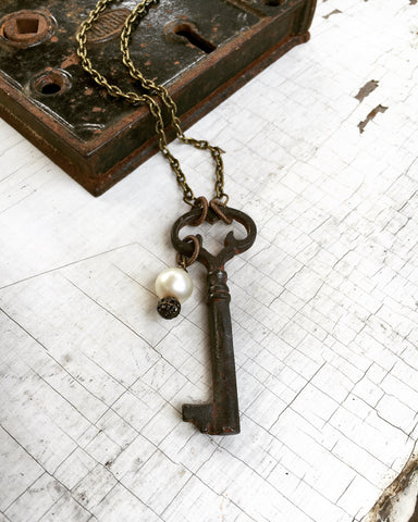 Antique Skeleton Key and Pearl Necklace