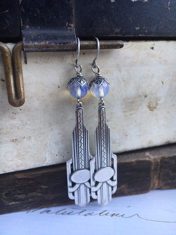 Vintage Art Deco Style Earrings, Empire Silver, Aged Silver Plate, Moonstone Earrings