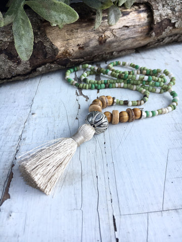 Bohemian Bead and Tassel Necklace, Rustic Green Seed Bead and Olive Wood Bead Necklace, Nature Jewelry