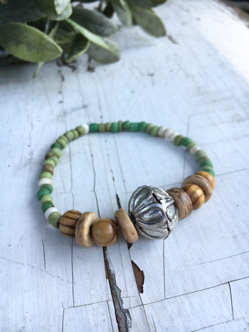Rustic Green and Brown Boho Bead Bracelet, Seed Bead, Olive Wood, and Coco Wood Bead Bracelet, Nature Jewelry