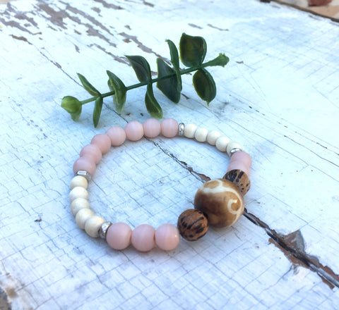 """Sweet but Salty"", Boho Bead Bracelet, Decorative Wood, Palm Wood, and Pink Glass Bead Stretch Bracelet"