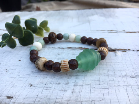 """Archaeology"", Boho Bead Bracelet, Vintage Bone, and Recycled Glass Bead Stretch Bracelet"