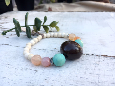 """Resort"" Boho Bead Bracelet, Tagua Nut, Wood, and Amber Quartz Bead Stretch Bracelet"