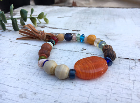 """Gypsy"", Boho Bead Bracelet, Multi-Color Wood and Glass Bead Stretch Bracelet"