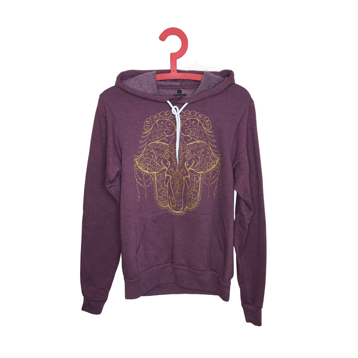 HAMSA ELEPHANT ~ HEATHER BURGUNDY WOMEN FLEECE TRIBLEND HOODIE