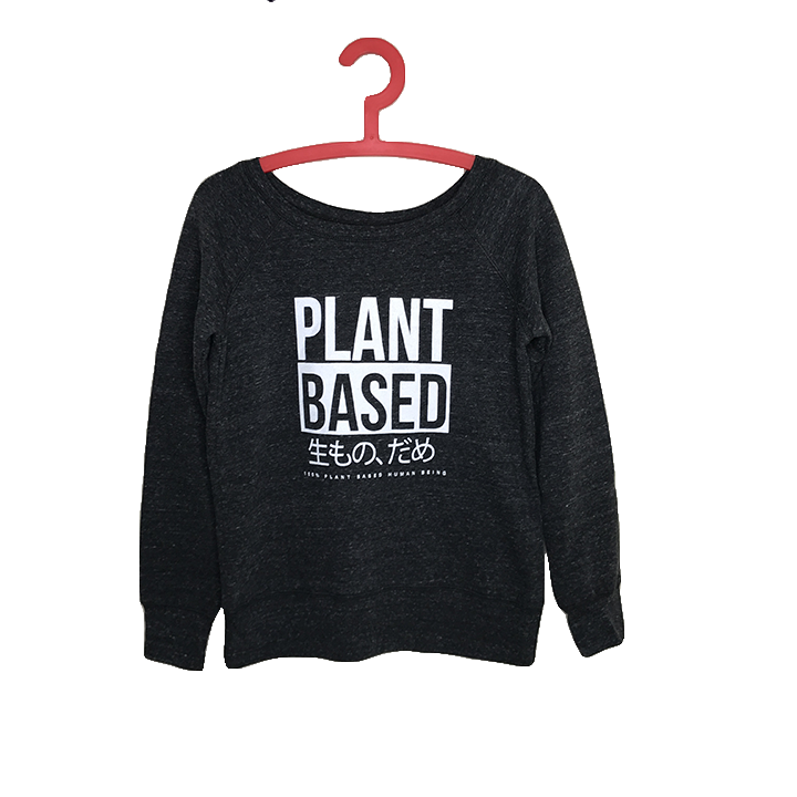 PLANT BASED ~ HEATHER BLACK OFF THE SHOULDER TRI BLEND FLEECE