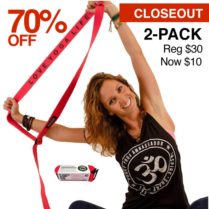 2-PACK OF 8' ORGANIC PRINTED RED YOGA STRAP CLOSEOUT