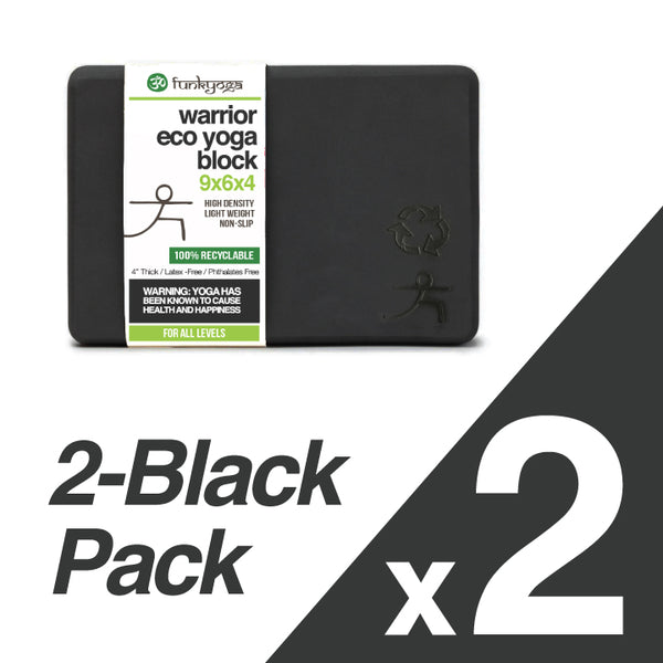 2-PACK ~ BLACK RECYCLABLE WARRIOR YOGA BLOCK 4-INCH THICK