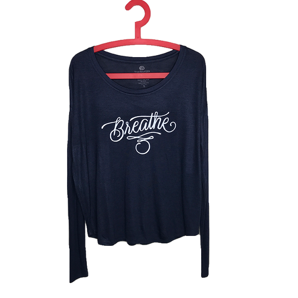 BREATHE TATTOO ~ NAVY FLOWY  RIB LONG SLEEVE