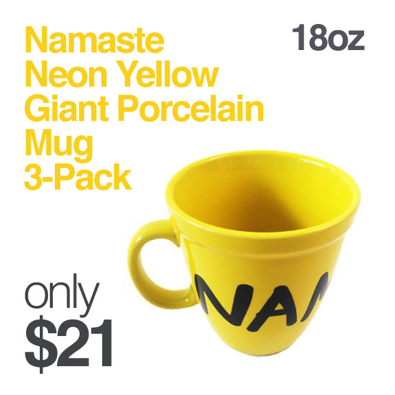 3-PACK NAMASTE ~ GIANT 18oz CERAMIC MUG