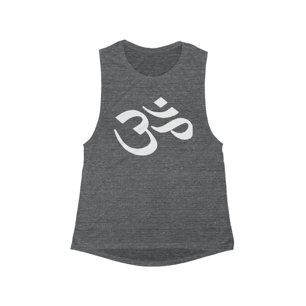 CLASSIC OM ~ Women's Flowy Scoop Dark Grey Muscle Tank