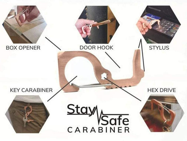 3-PACK STAY SAFE ANTI-MICROBIAL COPPER CARABINER~ DOOR OPENER- NO TOUCH HAND TOOL (FREE SHIPPING US ONLY)