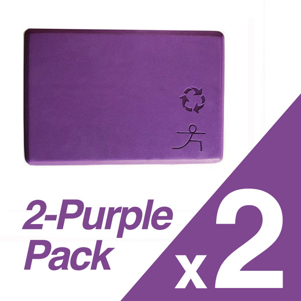 2-PACK ~ PURPLE RECYCLABLE WARRIOR YOGA BLOCK 4-INCH THICK