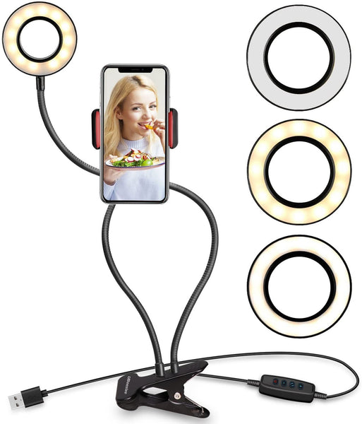 SOLID METAL PREMIUM ~ SELFIE RING LIGHT WITH CELL PHONE HOLDER STAND FOR LIVE STREAMING (Flexible Arms Compatible with iPhone 8 7 6 Plus X Android)