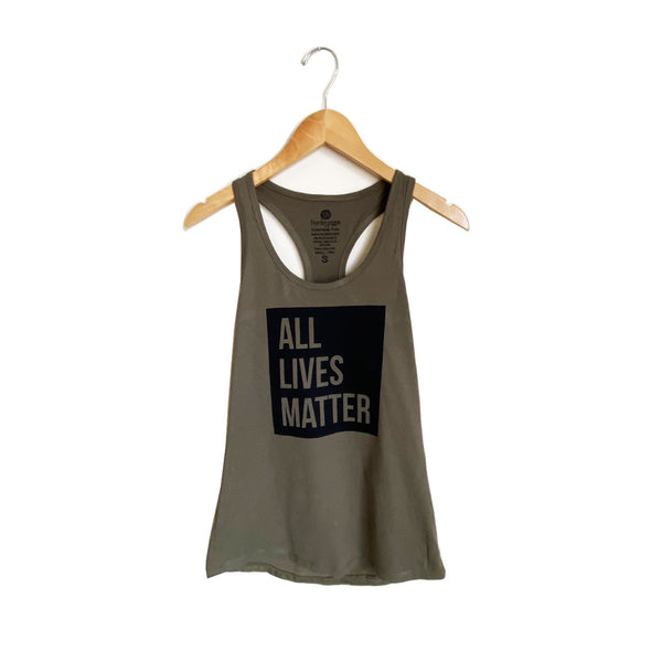 ALL LIVES MATTER ~DARK OLIVE COTTON RACER TANK