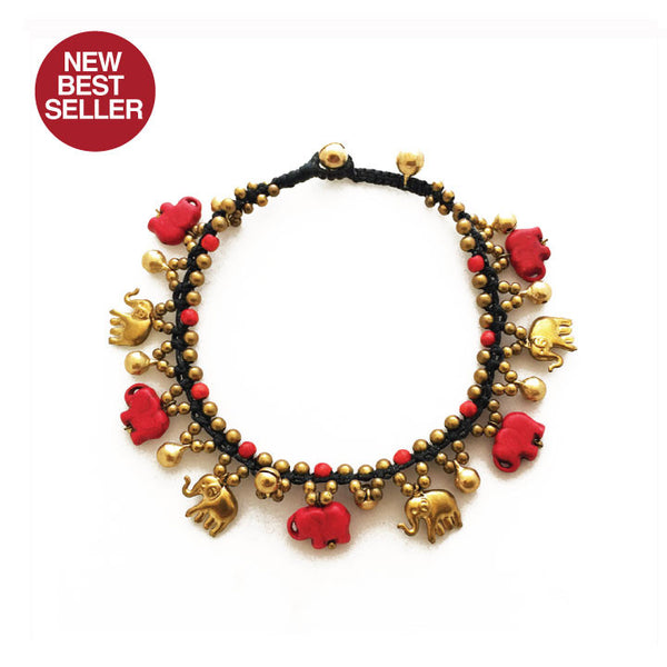 ELEPHANT RED + GOLD HAND MADE ANKLE BRACELET 11""