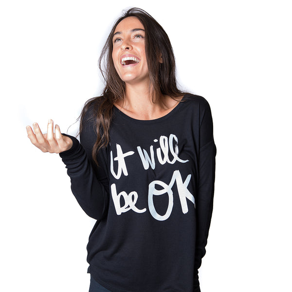IT WILL BE OK ~ BLACK FLOWY RIB LONG