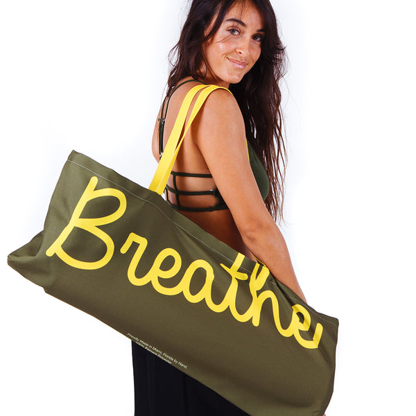 BREATHE ~ OLIVE WATERPROOF RECYCLED YOGA TOTE BAG  32X10