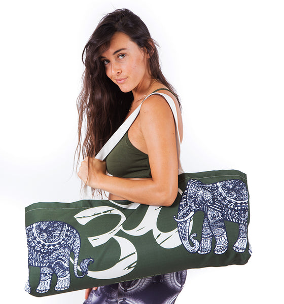 TRIBAL ELEPHANT ~ MILITARY GREEN WATERPROOF RECYCLED YOGA TOTE BAG  32X10