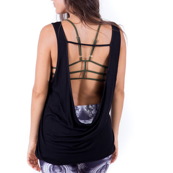NAMASTE LIGHT ~ BLACK VISCOSE FLOWY OPEN BACK TOP