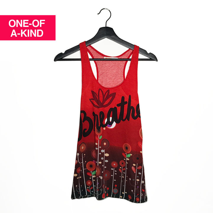 ONE-OF-A KIND BREATHE ~RED FLOWER RACER TANK