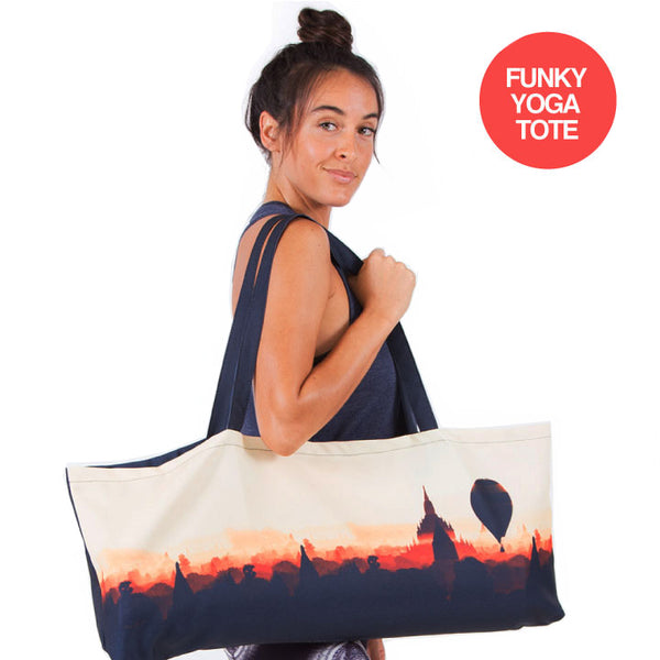 BURMA DREAMS ~ WATERPROOF RECYCLED YOGA TOTE BAG 32X10
