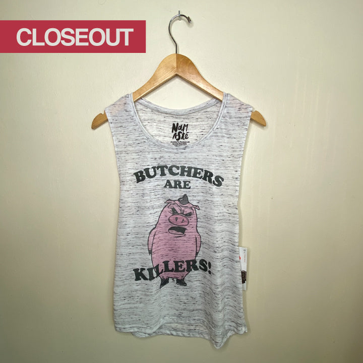 BUTCHERS ARE KILLERS -MARBLE WHITE MUSCLE TANK