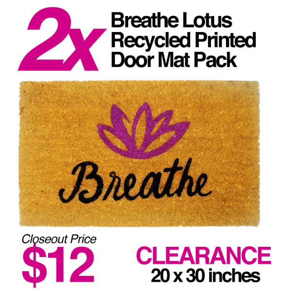 2-PACK  BREATHE LOTUS PRINTED DOOR MAT CLOSEOUT