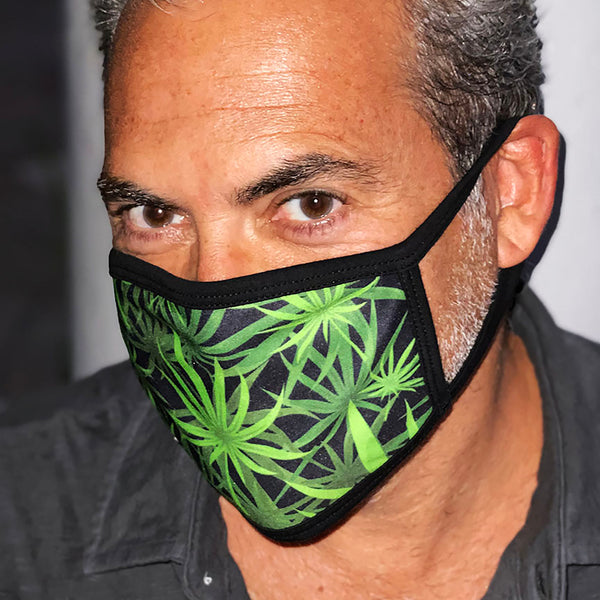 CANNABIS ~ BLACK COTTON PROTECTIVE MASK  ~ SHIPS IMMEDIATELY