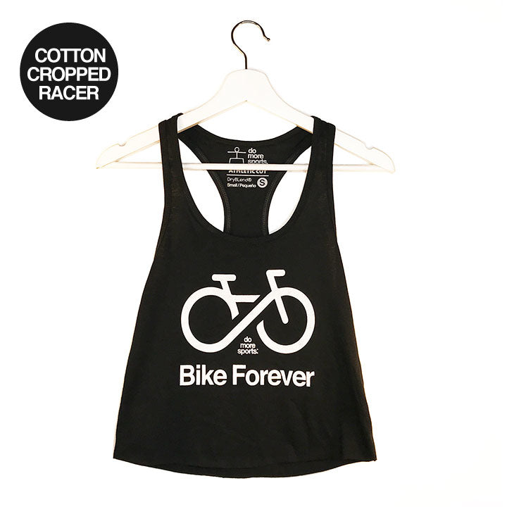 BIKE FOREVER ~ BLACK COTTON CROP RACER TANK WITH WHITE INK