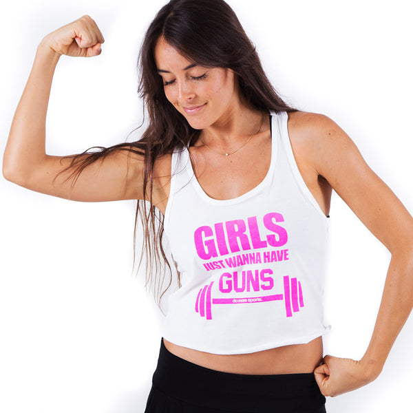 GIRLS JUST WANNA ~ WHITE COTTON CROP RACER TANK WITH HOT PINK INK