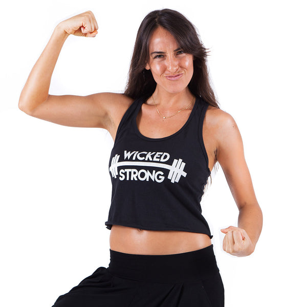 WICKED STRONG ~ BLACK COTTON CROP RACER TANK  WITH SILVER INK