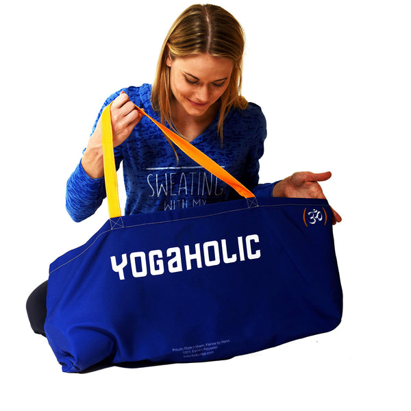 YOGAHOLIC WATERPROOF ROYAL RECYCLED YOGA TOTE BAG  30X10