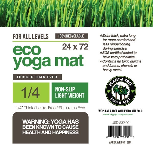 WARRIOR ECO YOGA MAT GOLDEN BROWN 1/4 Inch 24x72