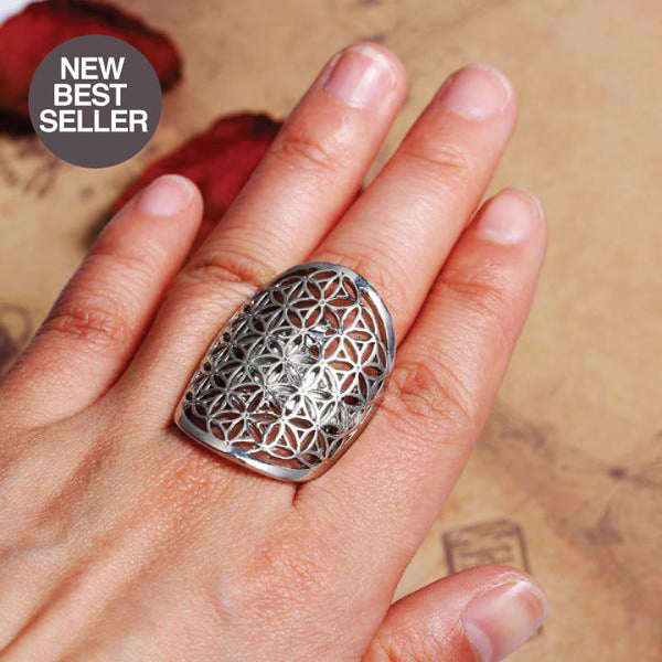 FLOWER OF LIFE ADJUSTABLE COPPER RING (Size 7.5)