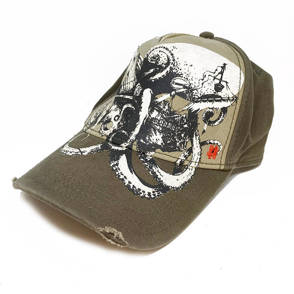 GIANT OCTOPUS ~ UNISEX KHAKI DISTRESSED TRUCKER CAP