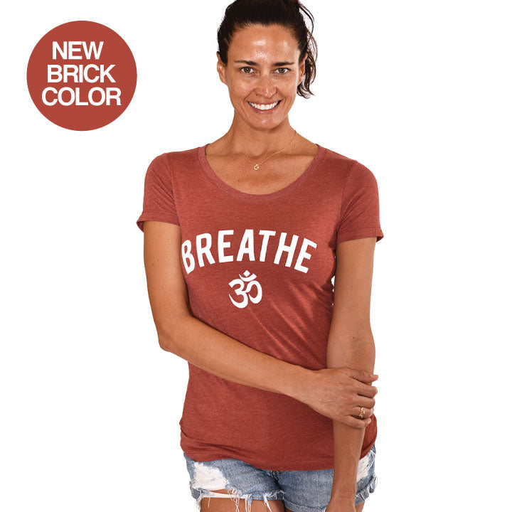 BREATHE TRIBLEND HEATHER BRINK WIDE NECK TEE - Funky Yoga  Gear & Accessories