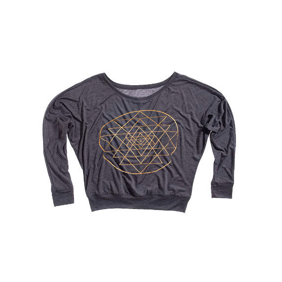 SRI YANTRA ~ DARK HEATHER GREY FLOWY LONG SLEEVE